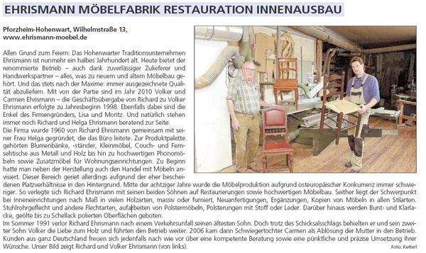 Ehrismann Möbelfabrik Restauration Innenausbau Pforzheimer Zeitung